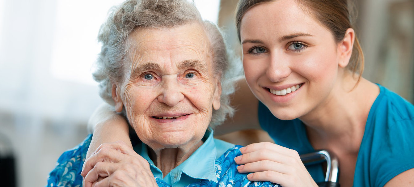 elderly woman and home care taker
